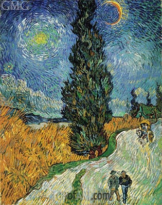 Road with Cypress and Star, 1890 | Vincent van Gogh | Painting Reproduction