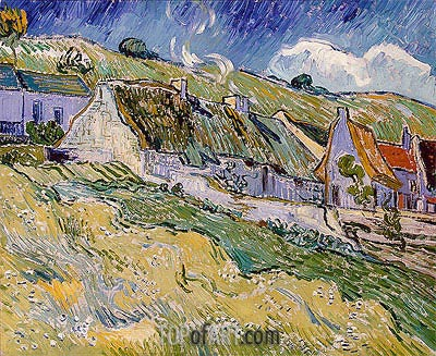 Cottages at Auvers-sur-Oise, 1890 | Vincent van Gogh| Painting Reproduction