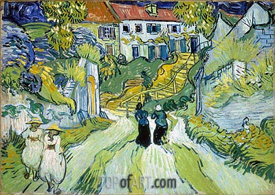 Village Street and Stairs with Figures, 1890 | Vincent van Gogh | Gemälde Reproduktion