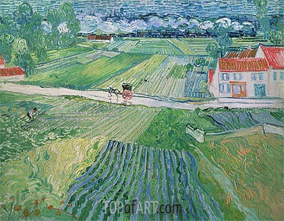 Landscape with Carriage and Train in the Backgroun, 1890 | Vincent van Gogh | Painting Reproduction