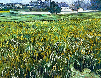Wheat Field at Auvers with White House, 1890 | Vincent van Gogh | Painting Reproduction