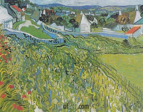 Vineyards with a View of Auvers, 1890 | Vincent van Gogh | Painting Reproduction