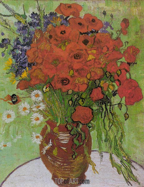 Still Life - Red Poppies and Daisies, June 1890 | Vincent van Gogh | Painting Reproduction