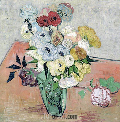 Still Life - Vase with Roses and Anemones, 1890 | Vincent van Gogh| Gemälde Reproduktion