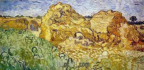 Field with Wheat Stacks, July 1890 | Vincent van Gogh | Painting Reproduction