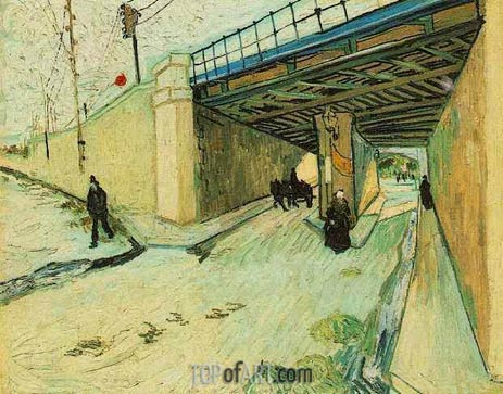 The Railway Bridge oner Avenue Montmajour, Arles, October 18 | Vincent van Gogh | Gemälde Reproduktion