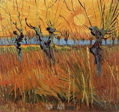 Willows at Sunset, 1888 | Vincent van Gogh | Painting Reproduction