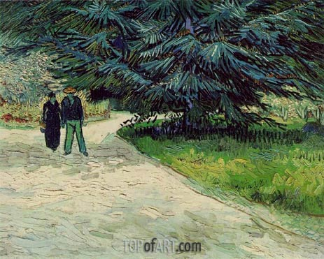 Couple in the Park, Arles, 1888 | Vincent van Gogh | Painting Reproduction
