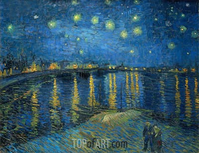 Starry Night over the Rhone, 1888 | Vincent van Gogh| Gemälde Reproduktion