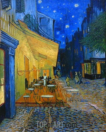 The Cafe Terrace on the Place du Forum, Arles, 1888 | Vincent van Gogh| Painting Reproduction