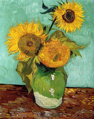 Three Sunflowers in a Vase, 1888 | Vincent van Gogh| Painting Reproduction