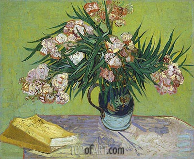 Still Life - Vase with Oleanders and Books, 1888 | Vincent van Gogh | Painting Reproduction