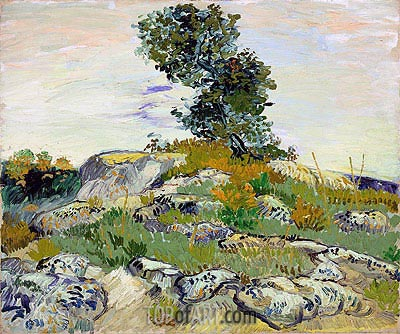 Rocks with Oak Tree, 1888 | Vincent van Gogh| Painting Reproduction