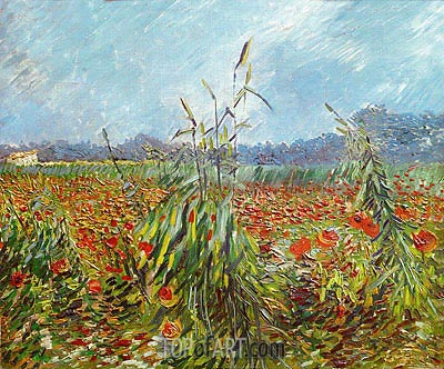 Corn Fields and Poppies, 1888 | Vincent van Gogh | Painting Reproduction
