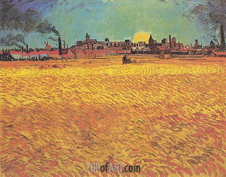 Sunset: Weat Fields Near Arles, June 1888 | Vincent van Gogh | Painting Reproduction