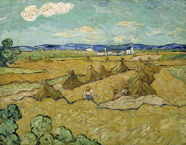Wheat Stacks with Reaper, June 1888 | Vincent van Gogh | Painting Reproduction