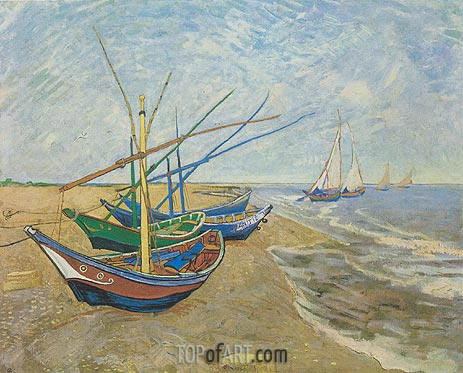 Fishing Boats on the Beach at Saintes-Maries, 1888 | Vincent van Gogh | Gemälde Reproduktion