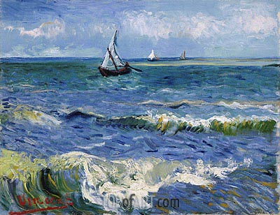 Seascape at Saintes-Maries, 1888 | Vincent van Gogh| Painting Reproduction