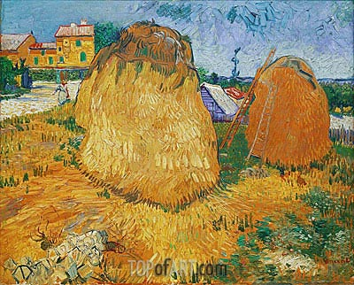 Haystacks in Provence, 1888 | Vincent van Gogh | Painting Reproduction