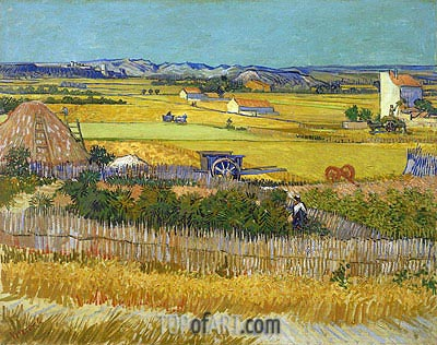 Harvest at La Crau, with Montmaiour, June 1888 | Vincent van Gogh| Painting Reproduction