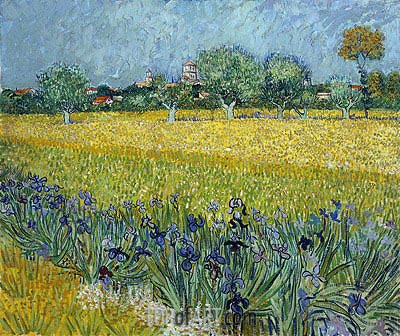 View of Arles with Irises in the Foreground, 1888 | Vincent van Gogh| Painting Reproduction
