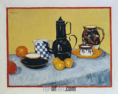 Blue Enamel Coffeepot, Earthenware and Fruit, 1888 | Vincent van Gogh| Painting Reproduction