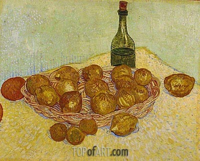 Still Life: Bottle, Lemons and Oranges, 1888 | Vincent van Gogh| Painting Reproduction