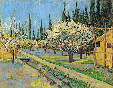 Orchard in Blossom, Bordered by Cypresses, April 1888 | Vincent van Gogh | Gemälde Reproduktion