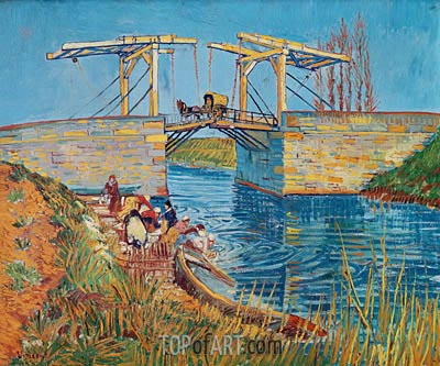 The Langlois Bridge at Arles with Women Washing, 1888 | Vincent van Gogh | Gemälde Reproduktion