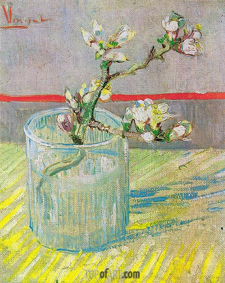 Blossoming Almond Branch in a Glass, 1888 | Vincent van Gogh | Gemälde Reproduktion
