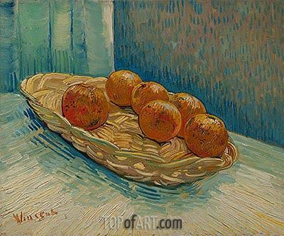 Still Life with Basket of Six Oranges, March 1888 | Vincent van Gogh | Painting Reproduction