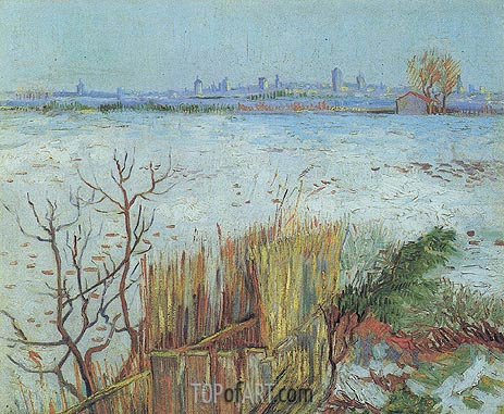 Snowy Landscape with Arles in the Background, February 1 | Vincent van Gogh | Gemälde Reproduktion
