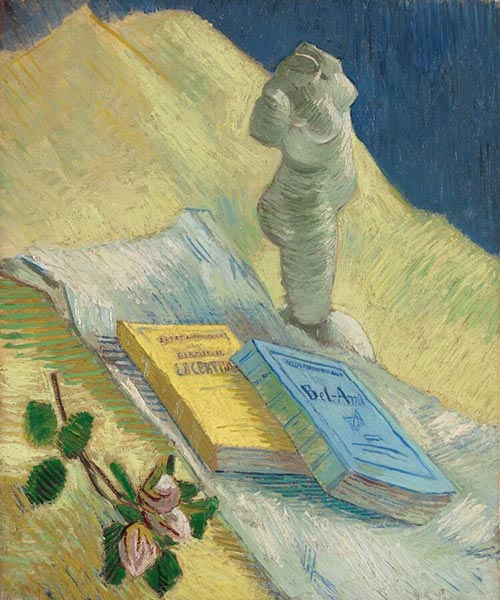Plaster Statuette, a Rose and Two Novels, December 1 | Vincent van Gogh | Painting Reproduction