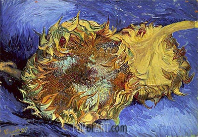 Two Cut Sunflowers, 1887 | Vincent van Gogh | Gemälde Reproduktion