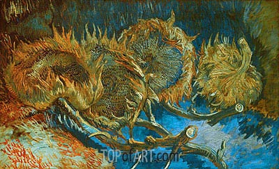 Four Cut Sunflowers, 1887 | Vincent van Gogh | Painting Reproduction