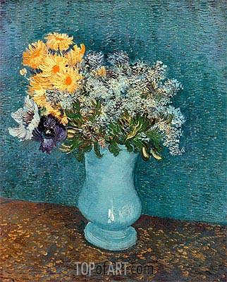 Vase with Lilacs, Daisies and Anemomes, 1887 | Vincent van Gogh | Painting Reproduction