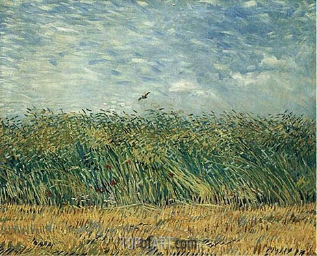 Wheat Field with a Lark, 1887 | Vincent van Gogh| Gemälde Reproduktion