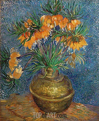 Crown Imperial Fritillaries in a Copper Vase, 1886 | Vincent van Gogh| Painting Reproduction