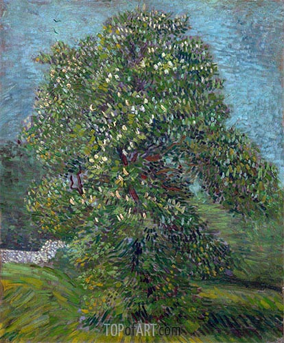 Chestnut Tree in Blossom, 1887 | Vincent van Gogh | Painting Reproduction