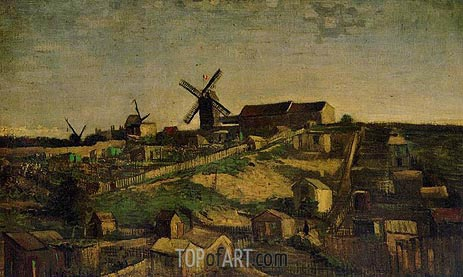 View of Montmartre with Windmills, Autumn 188 | Vincent van Gogh | Painting Reproduction