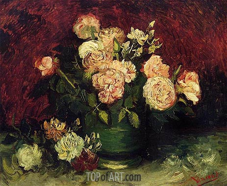 Bowl with Peonies and Roses, Autumn 188 | Vincent van Gogh | Painting Reproduction