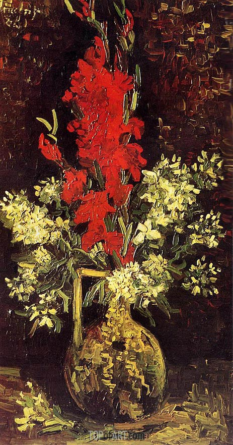 Vase with Gladioli and Carnations, Summer 188 | Vincent van Gogh | Gemälde Reproduktion