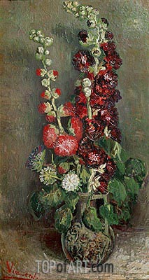 Vase with Hollyhocks, 1886 | Vincent van Gogh| Painting Reproduction