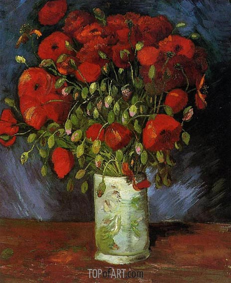 Vase with Red Poppies, Summer 188 | Vincent van Gogh | Painting Reproduction