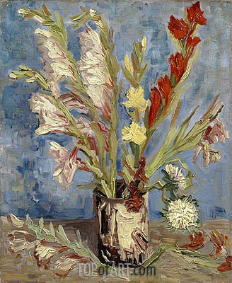 Vase with Gladioli, 1886 | Vincent van Gogh| Painting Reproduction