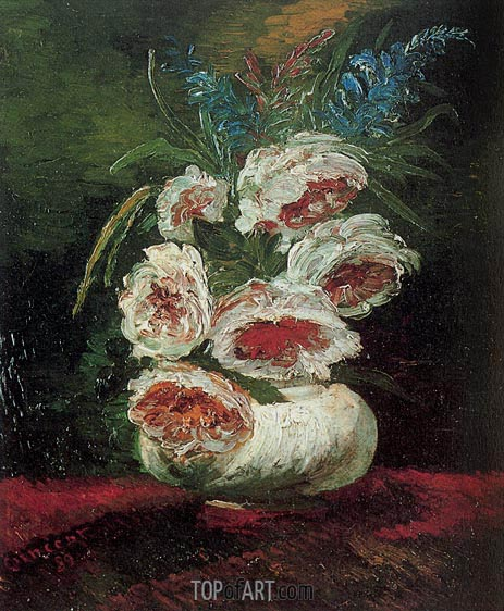 Vase with Peonies, 1886 | Vincent van Gogh | Painting Reproduction