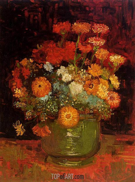 Vase with Zinnias, Summer 188 | Vincent van Gogh | Painting Reproduction