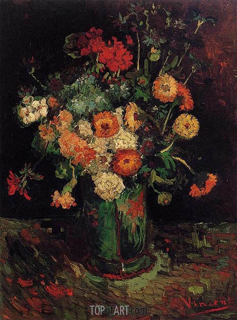 Vase with Zinnias and Geraniums, 1886 | Vincent van Gogh | Painting Reproduction