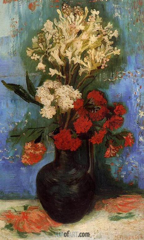Vase with Carnations and Other Flowers, Summer 188 | Vincent van Gogh | Painting Reproduction