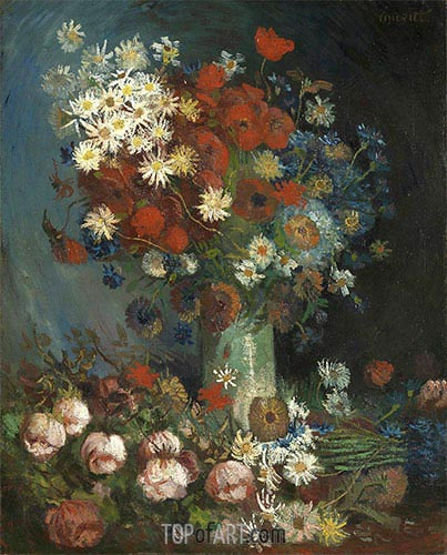 Poppies, Cornflowers, Peonies and Chrysanthemums, 1886 | Vincent van Gogh | Painting Reproduction